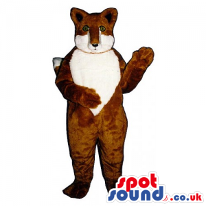 Customizable Plush Brown And White Fox Mascot With Tiny Eyes -