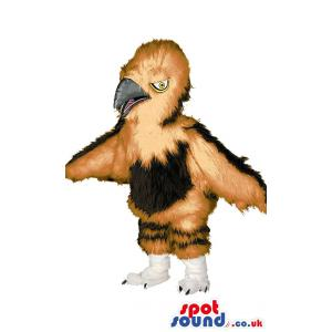 Eagle mascot with sharp look and pointed beak in brown and