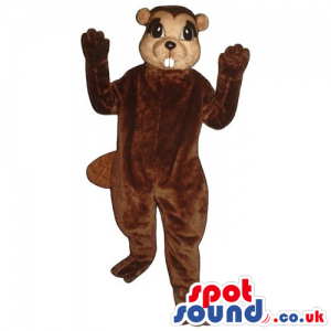 Customizable All Brown Chipmunk Animal Mascot With Showing