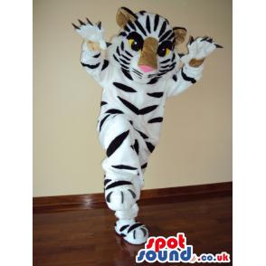Tiger mascot with his paws up and giving a standing pose -