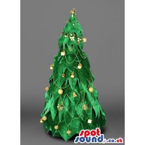 Decorated green colour beautiful christmas tree mascot - Custom