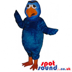 Customizable Blue Bird Mascot With A Funny Worried Face -