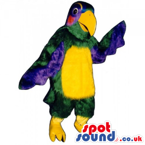 Customizable Colorful Parrot Bird Mascot With A Yellow Belly -