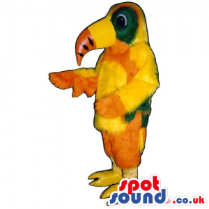 Customizable Colorful Orange And Yellow Toucan Bird Mascot -
