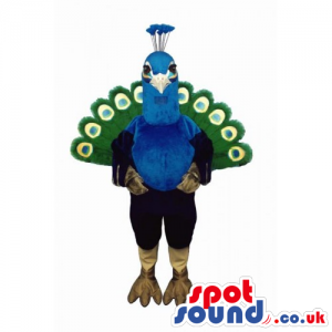 Customizable Peacock Bird Mascot With Colorful Tail - Custom