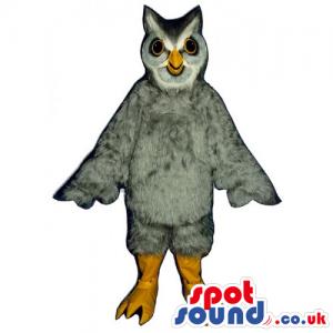Grey And White Owl Bird Mascot With Small Eyes And Yellow Beak