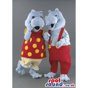 Ash colour crocodile couple mascot in a romantic gesture -