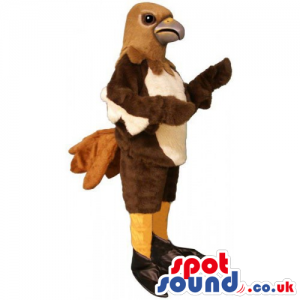 Customizable Original Brown And Beige Bird Mascot With Funny