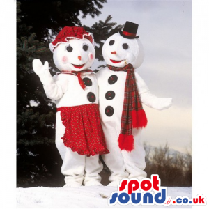 Snowman Mascot Couple Wearing Special Garments And Big Buttons