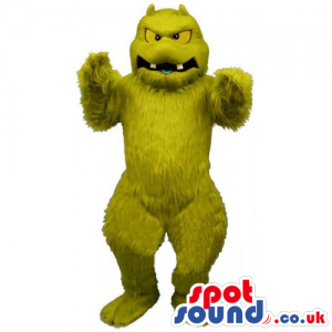 Plain Green And Hairy Monster Mascot With Yellow Eyes - Custom