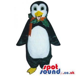 Customizable Penguin Animal Mascot With A Christmas Holy Ribbon