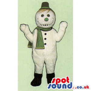 Snowman Mascot Wearing A Tiny Hat And A Winter Scarf - Custom