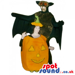 Scary Pumpkin And Bat Halloween Adult Couple Costumes - Custom