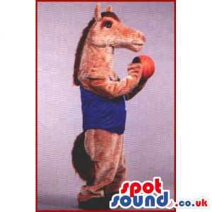 Brown Horse Animal Mascot Wearing A Blue Shirt With A Basket