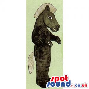 All Black Plush Horse Animal Mascot With Beige Hair - Custom