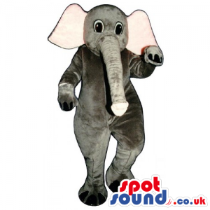 All Grey Elephant Animal Mascot With Big Pink Ears And Long
