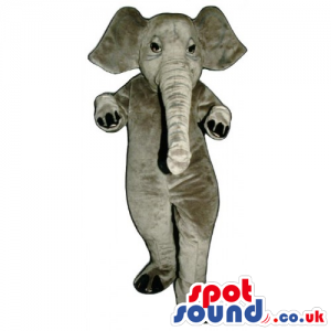 All Grey Elephant Animal Mascot With Big Ears And Small Eyes -