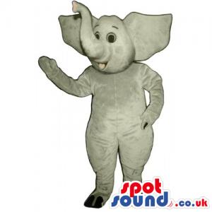 All Grey Elephant Animal Mascot With Upwards Lucky Trunk -