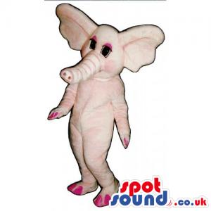 All Pink Plush Elephant Girl Animal Mascot With Big Ears -