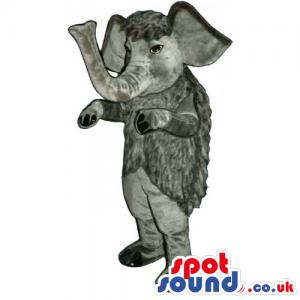 Dark Grey Elephant Animal Mascot With Trunk Facing Upwards -