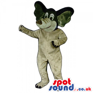 Grey And Black Plush Elephant Mascot With Cartoon Character