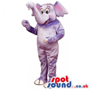 Grey Elephant Plush Animal Mascot With Trunk Facing Upwards -