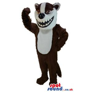 Cunning fox mascot in brown-white and waving his hand to us -