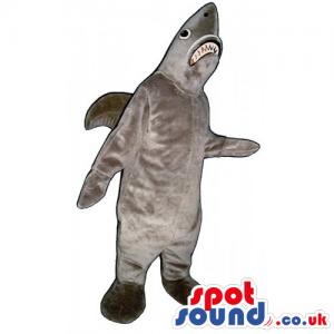 Customizable Plain Grey Plush Shark Mascot With Jaws - Custom
