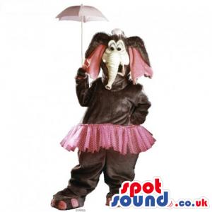 Brown Plush Elephant Mascot Wearing A Pink Skirt And Umbrella -
