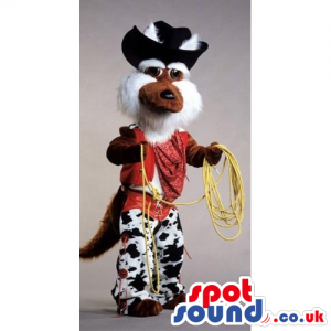 Fox Hairy Animal Mascot Dressed As A Cowboy With Hat - Custom