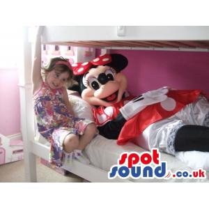 Happy Minnie mouse with her casual red colour dress - Custom