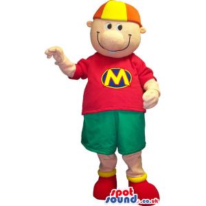 Customizable Boy Mascot Wearing A Cap And A Letter T-Shirt -