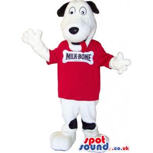 White And Black Plush Dog Animal Mascot Wearing A Red T-Shirt -