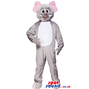 Customizable Grey Elephant Mascot With A White Belly And Pink