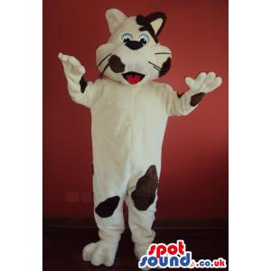 Amazed cat mascot in cream colour and in brown with hands in