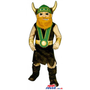 Viking Character Mascot With Helmet With Horns And Red Beard -