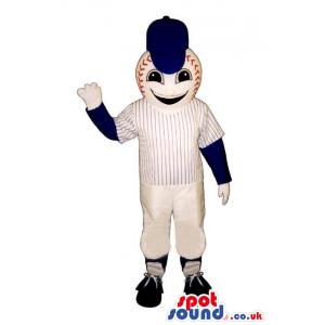 Baseball Mascot Wearing Sports Garments And A Blue Cap - Custom