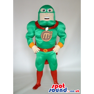 Customizable Superhero Mascot In Green And Red With Logo -