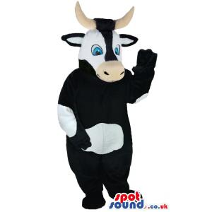 Black and white cow mascot with two amazing horns - Custom