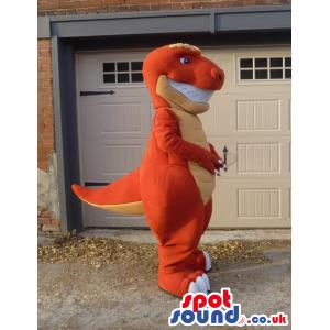 Customizable Orange And Yellow Dinosaur Mascot With Big Teeth -