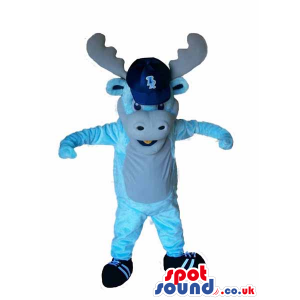 Blue Plush Reindeer Animal Mascot With A Cap With Logo - Custom