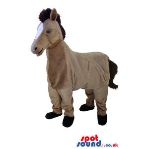 Brown horse mascot who is dazzling with his innocent smile -