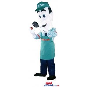 Customizable Human Mascot Wearing A Green Apron And Cap -