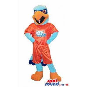 Blue And Orange Eagle Mascot Wearing Sports Garments - Custom
