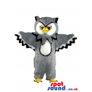 Customizable Grey Owl Mascot With A White Belly And Face -