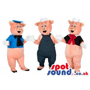 Three Little Pigs Character Mascots Wearing Garments - Custom