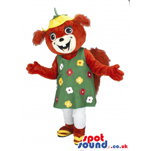 Customizable Squirrel Mascot Wearing A Flower Dress - Custom