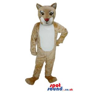 Scary tiger mascot in light brown colour and in a scary look -