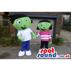 Two Green Creatures Mascots Wearing Casual Clothes - Custom