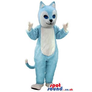 Cute blue cat mascot standing and showing his paws - Custom